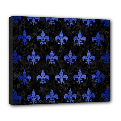Royal1 Black Marble & Blue Brushed Metal (r) Deluxe Canvas 24  X 20  (stretched) by trendistuff