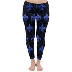 Royal1 Black Marble & Blue Brushed Metal (r) Classic Winter Leggings by trendistuff