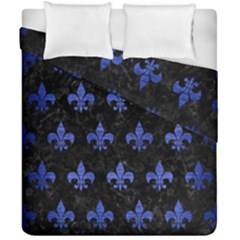 Royal1 Black Marble & Blue Brushed Metal (r) Duvet Cover Double Side (california King Size) by trendistuff