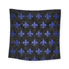 Royal1 Black Marble & Blue Brushed Metal (r) Square Tapestry (small) by trendistuff