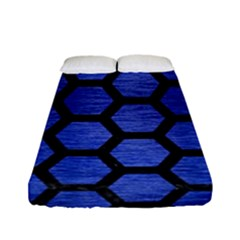 Hexagon2 Black Marble & Blue Brushed Metal (r) Fitted Sheet (full/ Double Size) by trendistuff