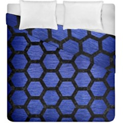 Hexagon2 Black Marble & Blue Brushed Metal (r) Duvet Cover Double Side (king Size) by trendistuff
