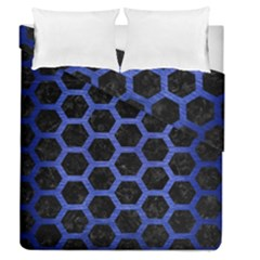 Hexagon2 Black Marble & Blue Brushed Metal Duvet Cover Double Side (queen Size) by trendistuff
