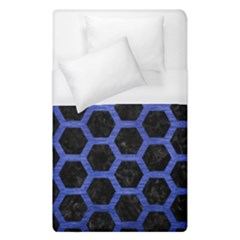 Hexagon2 Black Marble & Blue Brushed Metal Duvet Cover (single Size) by trendistuff