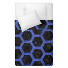 Hexagon2 Black Marble & Blue Brushed Metal Duvet Cover Double Side (single Size) by trendistuff