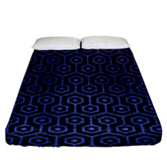 Hexagon1 Black Marble & Blue Brushed Metal Fitted Sheet (king Size) by trendistuff