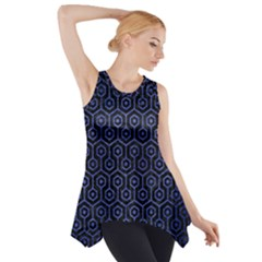 Hexagon1 Black Marble & Blue Brushed Metal Side Drop Tank Tunic by trendistuff