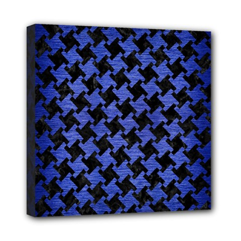 Houndstooth2 Black Marble & Blue Brushed Metal Mini Canvas 8  X 8  (stretched) by trendistuff