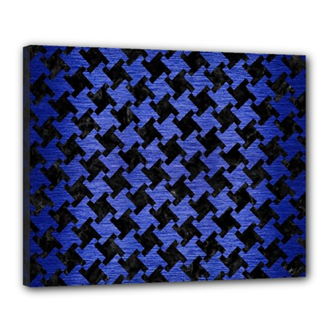 Houndstooth2 Black Marble & Blue Brushed Metal Canvas 20  X 16  (stretched) by trendistuff