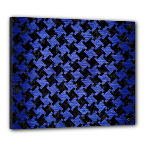 Houndstooth2 Black Marble & Blue Brushed Metal Canvas 24  X 20  (stretched) by trendistuff