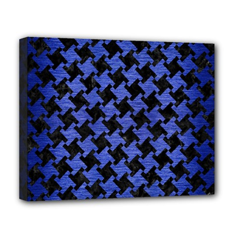 Houndstooth2 Black Marble & Blue Brushed Metal Deluxe Canvas 20  X 16  (stretched) by trendistuff