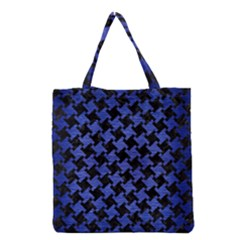 Houndstooth2 Black Marble & Blue Brushed Metal Grocery Tote Bag by trendistuff