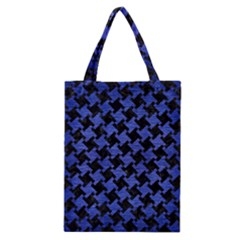 Houndstooth2 Black Marble & Blue Brushed Metal Classic Tote Bag by trendistuff