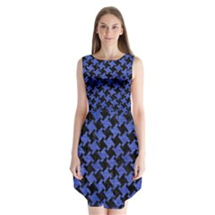 Houndstooth2 Black Marble & Blue Brushed Metal Sleeveless Chiffon Dress   by trendistuff