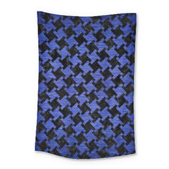 Houndstooth2 Black Marble & Blue Brushed Metal Small Tapestry by trendistuff