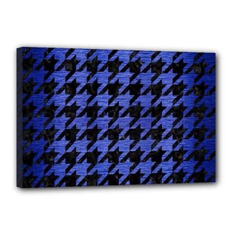 Houndstooth1 Black Marble & Blue Brushed Metal Canvas 18  X 12  (stretched) by trendistuff