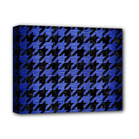Houndstooth1 Black Marble & Blue Brushed Metal Deluxe Canvas 14  X 11  (stretched) by trendistuff