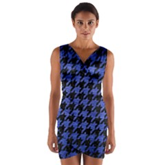 Houndstooth1 Black Marble & Blue Brushed Metal Wrap Front Bodycon Dress by trendistuff