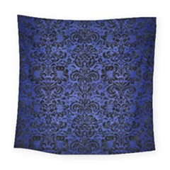 Damask2 Black Marble & Blue Brushed Metal (r) Square Tapestry (large) by trendistuff