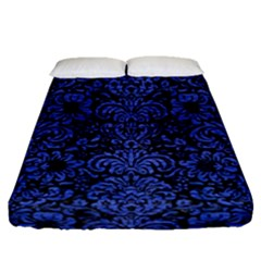 Damask2 Black Marble & Blue Brushed Metal Fitted Sheet (queen Size) by trendistuff