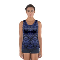 Damask1 Black Marble & Blue Brushed Metal Sport Tank Top  by trendistuff