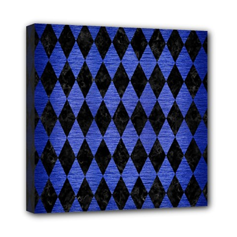 Diamond1 Black Marble & Blue Brushed Metal Mini Canvas 8  X 8  (stretched)