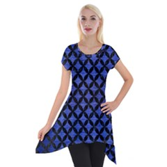 Circles3 Black Marble & Blue Brushed Metal (r) Short Sleeve Side Drop Tunic by trendistuff