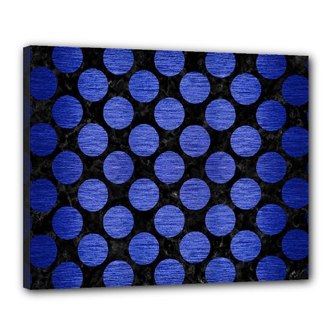 Circles2 Black Marble & Blue Brushed Metal Canvas 20  X 16  (stretched) by trendistuff