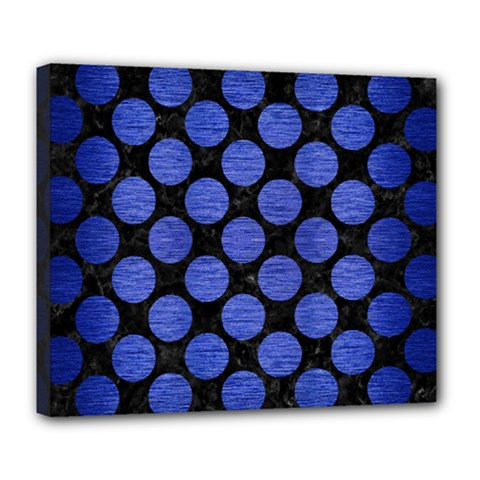 Circles2 Black Marble & Blue Brushed Metal Deluxe Canvas 24  X 20  (stretched) by trendistuff