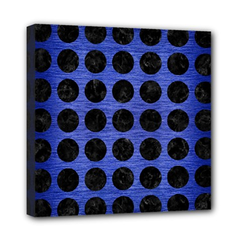 Circles1 Black Marble & Blue Brushed Metal (r) Mini Canvas 8  X 8  (stretched) by trendistuff