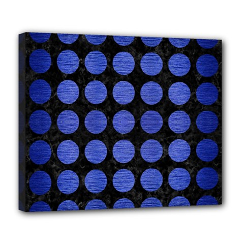 Circles1 Black Marble & Blue Brushed Metal Deluxe Canvas 24  X 20  (stretched) by trendistuff