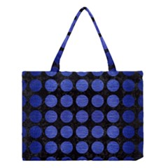 Circles1 Black Marble & Blue Brushed Metal Medium Tote Bag by trendistuff