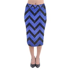 Chevron9 Black Marble & Blue Brushed Metal (r) Velvet Midi Pencil Skirt by trendistuff