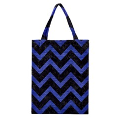 Chevron9 Black Marble & Blue Brushed Metal Classic Tote Bag by trendistuff