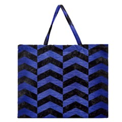 Chevron2 Black Marble & Blue Brushed Metal Zipper Large Tote Bag by trendistuff