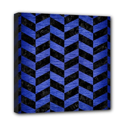 Chevron1 Black Marble & Blue Brushed Metal Mini Canvas 8  X 8  (stretched) by trendistuff