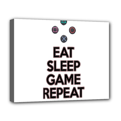 Eat Sleep Game Repeat Deluxe Canvas 20  X 16