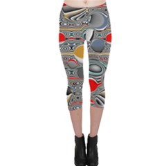 Changing Forms Abstract Capri Leggings  by digitaldivadesigns
