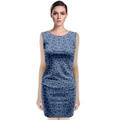 Intricate Geometric Print Sleeveless Velvet Midi Dress by dflcprintsclothing