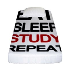 Eat Sleep Study Repeat Fitted Sheet (single Size) by Valentinaart