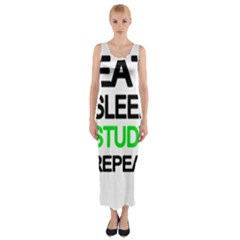 Eat Sleep Study Repeat Fitted Maxi Dress by Valentinaart