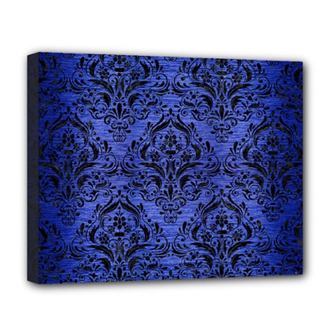 Damask1 Black Marble & Blue Brushed Metal (r) Deluxe Canvas 20  X 16  (stretched) by trendistuff