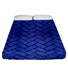 Brick2 Black Marble & Blue Brushed Metal (r) Fitted Sheet (king Size) by trendistuff