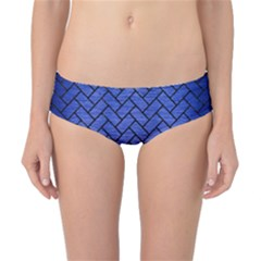 Brick2 Black Marble & Blue Brushed Metal (r) Classic Bikini Bottoms by trendistuff