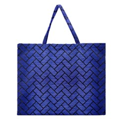 Brick2 Black Marble & Blue Brushed Metal (r) Zipper Large Tote Bag by trendistuff