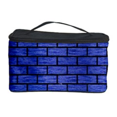 Brick1 Black Marble & Blue Brushed Metal (r) Cosmetic Storage Case by trendistuff