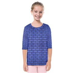 Brick1 Black Marble & Blue Brushed Metal (r) Kids  Quarter Sleeve Raglan Tee