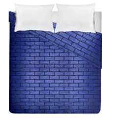 Brick1 Black Marble & Blue Brushed Metal (r) Duvet Cover Double Side (queen Size) by trendistuff