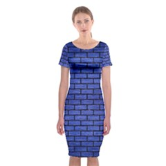 Brick1 Black Marble & Blue Brushed Metal (r) Classic Short Sleeve Midi Dress by trendistuff