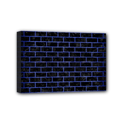 Brick1 Black Marble & Blue Brushed Metal Mini Canvas 6  X 4  (stretched) by trendistuff